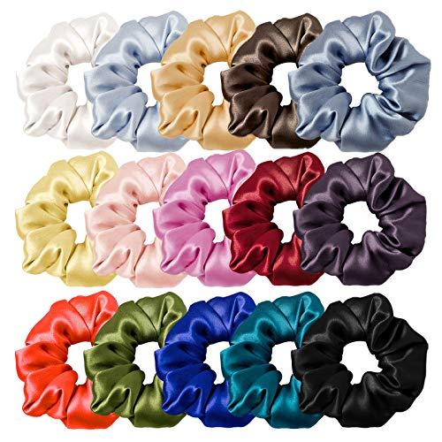 Seide Faser Haargummis, 15er Set PES Scrunchies, Haare Ringe Gummibänder Haarbänder Elastischer Bunte Haarschmuck Haarseil für Mädchen Damen Frauen Pferdeschwanz Halter Haar Band (mit Geschenkbeutel)