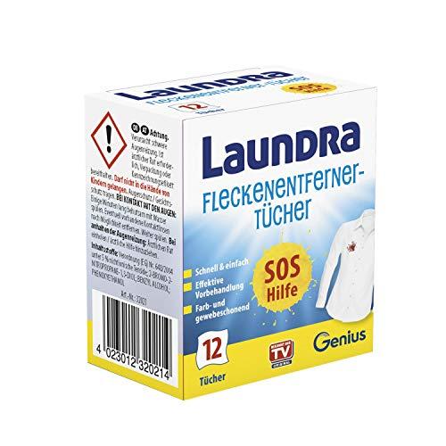 Genius Laundra | Fleckenentferner-Tücher | 12 Teile | die perfekte SOS Hilfe für unterwegs