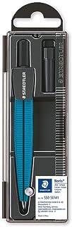 Staedtler Noris 550, Compas scolaire de précision bleu pour l'école, Boîtier refermable pratique avec étui de mine, 550 50 M1