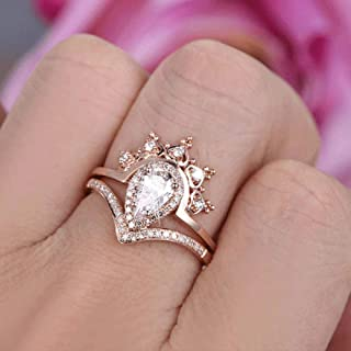 WYS Teardrop Cubic Zirconia CZ Queen Crown Ring Set Women's Rose Gold Plated Curve V Shape Wedding Bridal Band Set (US Cod...