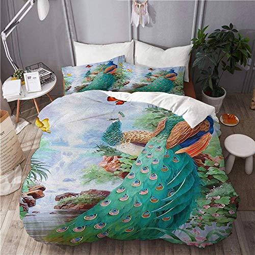 Juego de funda nórdica para ropa de cama, 3 piezas, funda de edredón con 2 fundas de almohada, pavo real con mariposa, acuarela, botánica floral, edredón de microfibra ultra suave de primera calidad
