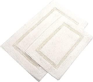 Value Homezz Stock Super Sale Cotton Bath Rugs 21 x 34/17 x 24 inches Bathroom Mats Combo, Water Absorbent Cotton bathrug (Ivory, Cotton Arena)