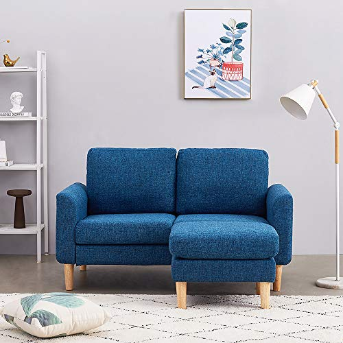 Panana 2 Seater Sofa Linen Fabric L Shaped Sofa with Footstool Corner Couch Lounge Sofa Left or Right Chaise Settee for Living Room (Blue, 2 Seater with foostool)
