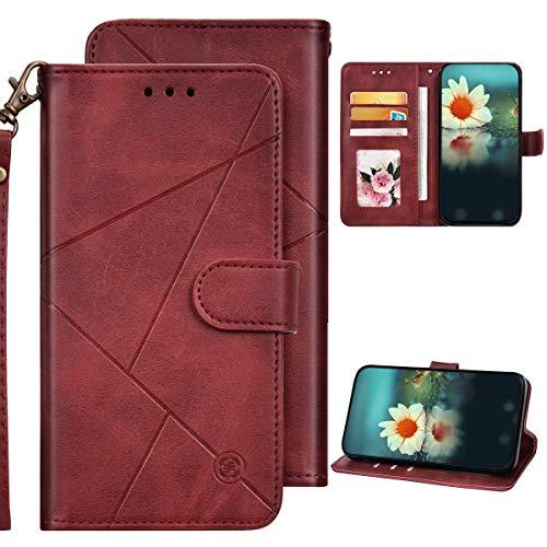 iPhone 6/iPhone 6S Hülle Leder Tasche Flip Case Schutzhülle,QPOLLY Geometrische Muster PU Leder Handy Tasche Magnetisch Brieftasche Klapphülle mit Kartenfächer für iPhone 6/6S,Rot