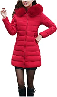 1eeb3815cf Manteau Femme Hiver Blouson Doudoune en Laine Noir Veste à Capuche épais  Chaud Col Fourrure Confortable