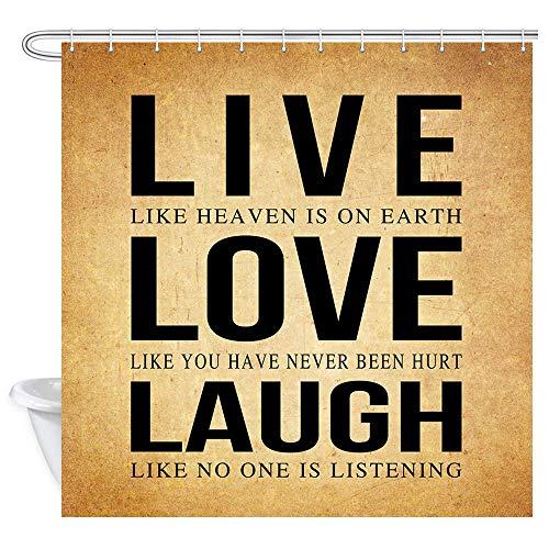 Lustige Zitate Live Love Lachen Duschvorhang, Motivationswort Live Jeden Moment Lachen Jeden Tag Liebe Jenseits der Worte in Vintage Stoff Duschvorhang, Rustikales Badezimmer Fantastische Dekorationen