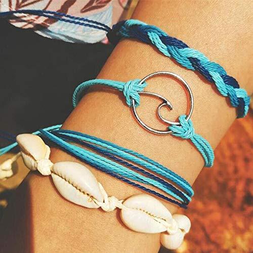 Bosi General Merchandise 3teiliges Set Bohemian, Damen und Mädchen Blue Shell Charm Armband, Wellenanhänger Armband, 8 Stränge geflochtenes Armband