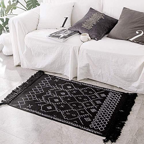 hi-home Boho Teppich, Baumwolle Gewebte Teppiche Waschbar Läufer Badteppich mit Quasten für Schlafzimmer Eingangstür Küche Badezimmer 60x130cm(Schwarz)