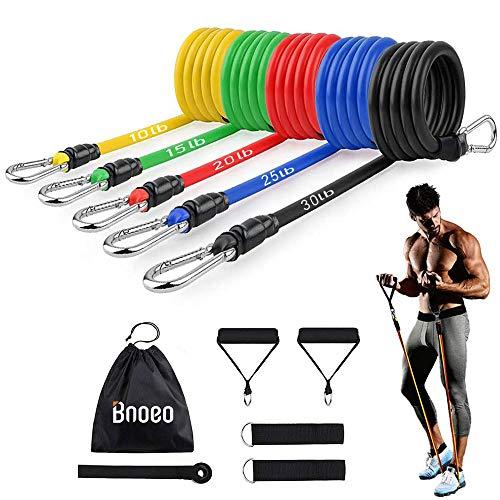 Bnoeo Bandas Elasticas Fitness Musculacion - Apilables hasta Las 100lbs. Tubos de Entrenamiento para Deportes Interiores o Exteriores, Fitness,Fuerza y Velocidad, Gimnasio en casa o Yoga