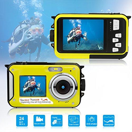 Waterproof Underwater Digital Camera for Snorkeling,Selfie Dual Screen Digital Cameras Waterproof Underwater Video Camera-Holiday,Trip (Yellow 1)