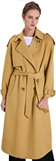 Women's Wool Trench Coat, Winter Double-Breasted Jacket with Belts,Yellow,XS