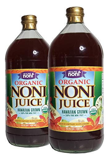 Healing Noni - 100% Pure Organic Hawaiian Noni Juice - 2 Pack of 32oz Glass Bottles