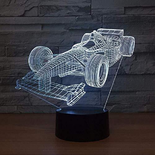 Lámpara Led De Luz Acrílica 3D Con Forma De Coche De Carreras Lampe Usb Mesa De Escritorio Luz De Noche Led Amigos Vacaciones Cumpleaños Regalos Geniales