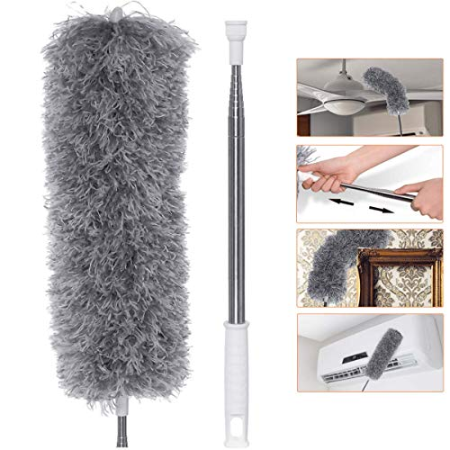 Microfiber Dusters with Extra Long Extension Pole (30-100 inches), with Bendable Head, Extendable Duster for Cleaning High Ceiling, Ceiling Fan, Blinds, Cobwebs, Furniture, Cars