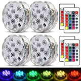 Submersible Led Lights Waterproof Multi-color Battery Remote Control, Party Perfect Decorative...