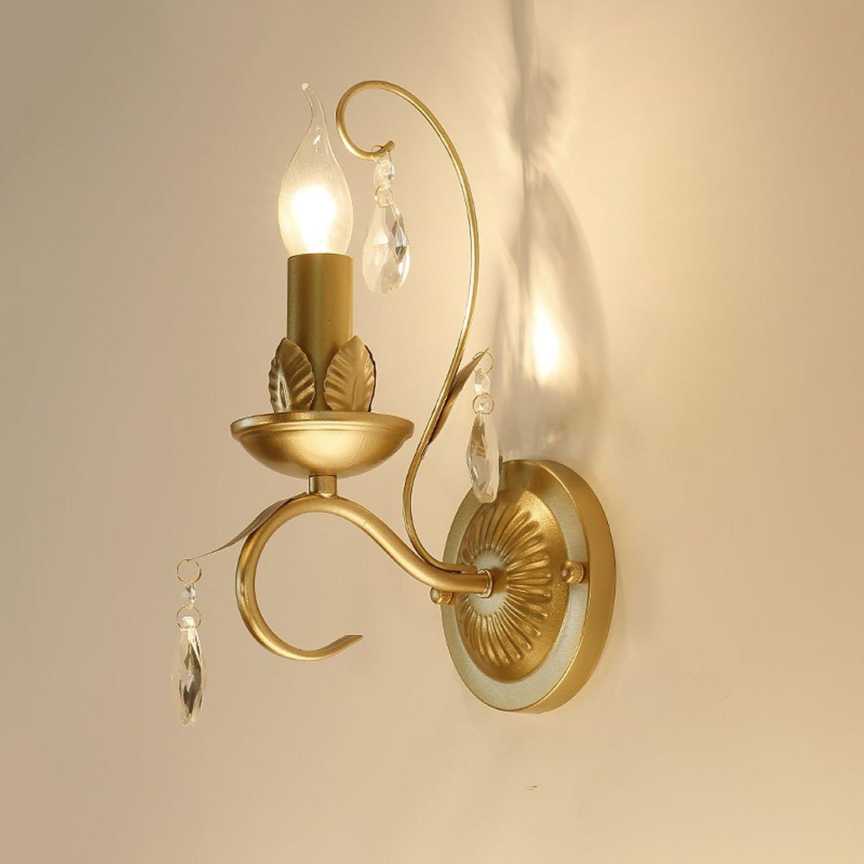 Amerikanischen Land Kristall Anhnger Eisen Wandleuchte Continental Wohnzimmer Schlafzimmer Kreative Wandleuchte ( Farbe   Gold )