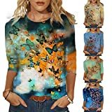 Womens Summer 3/4 Sleeve T Shirts Casual Tops Fashion Loose Floral Print Tunic Tees Plus Size Tank Tops