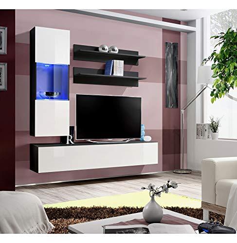 ASM Banc TV avec LED - 4 éléments - Blanc et Noir