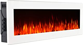 GMHome 40 Inches Wall Mounted Electric Fireplace Freestanding Heater Crystal Stone Flame Effect 9 Changeable Flame Color Fireplace, with Remote, 1500W – Metal Panel, White