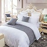 OSVINO - Camino de cama de poliéster y algodón, de color sólido, simple, para dormitorio, casa de invitados, cama, poliéster, Gris, matrimonio grande