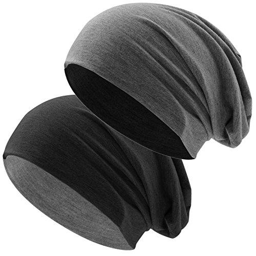 Hatstar Bicolor Jersey Slouch Long Beanie Mütze, leicht und weich, Reversible Beanie für Damen und Herren (Zwei-farbig   Bicolor schwarz-dunkelgrau)
