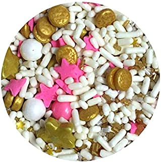 Pink Gold White Twinkle Little Star Edible Confetti Cake Cookie Cupcake IceCream Donut Decoration Sprinkles Quins - 6oz Jar