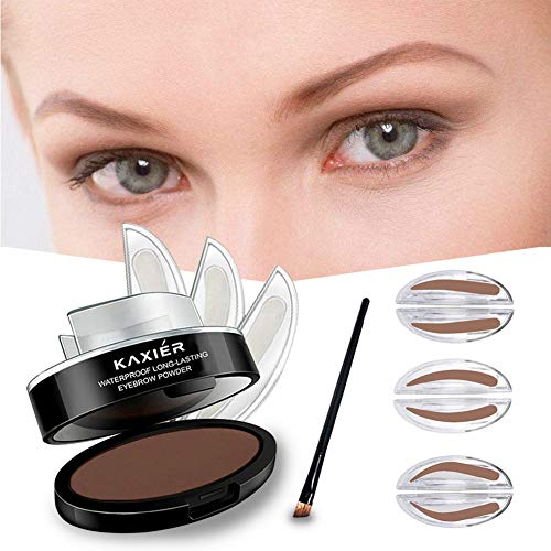 GL-Turelifes 3 Pairs of Seals Eyebrow Stamp with Brow Brush Perfect Eye Brow Power One Second Make Up Nature Brow(Light Brown)