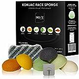 Body Accessories by ST ™ – Set 6 esponjas konjac facial y el cuerpo - Limpieza profunda de los poros - Esponja natural y 100% vegetal - Set completo de desmaquillaje para la exfoliación
