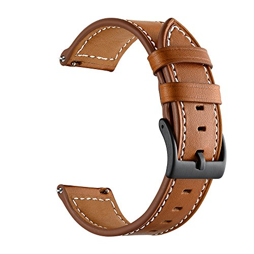 Feicuan Genuine Leather Watch Band for Garmin vivoactive 3, 20mm Classic Adjustable Replacement Wristband Strap for Men Women, Brown