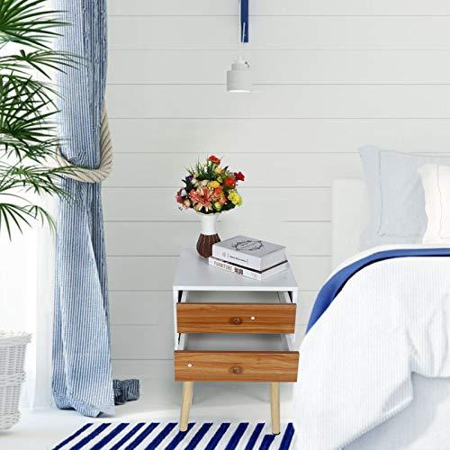 Germerse Mesa de Dormitorio, mesita de Noche de 40x40x58cm Mesa Auxiliar de Gran Capacidad de Carga Hecha de Madera Materiales de MDF para Dormitorio