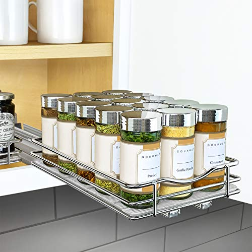 "Lynk Professional Slide Out Spice Rack Upper Cabinet Organizer, 6-1/4"" Single, Chrome"