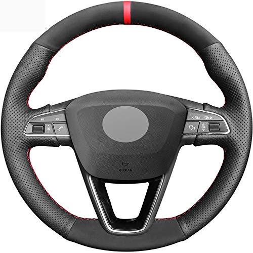 HCDSWSN Cubierta del Volante de Gamuza de Cuero Genuino Negro para Seat Leon 5F Mk3 2013-2019 Ibiza 6J Tarraco Arona Ateca Alhambra