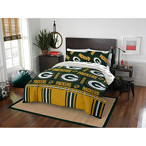 MISC 5 Piece Packers Comforter & Sheets Set Full Queen, Football Sports Bedding for Boys Kids Bedroom Team Logo Printed Collegiate Pattern Home Decor Game Fans Gift Super Soft Cozy Quality Polyester