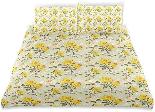 Yoyon Duvet Cover Set Vintage Narcissus Wildflowers Print Decorative 3 Piece Bedding Set with 2 Pillow Shams