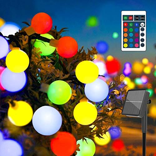 Bunt Solar Lichterkette Außen, 10M 60er LED Kugel Lichterkette mit Fernbedienung Timer, Farbwechsel Globe Lichterketten, 4 Modi IP65 Balkon Beleuchtung für Outdoor Garten, Party, Hochzeit,Valentinstag