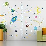 Minuya Weltraum Raumfahrzeug Planet Körpergröße Messen Kinder Kinderzimmer Haus Meteor Einfach Aebnehmbar Kreativ Romantisch Wandtattoo Wandsticker Hause DIY Aufkleber Tapete