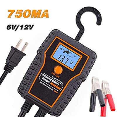 TN TONNY 12V 0.75Amp Smart Automatic Battery Charger/Maintainer with LED Monitor, Suitable for Cars, Motorcycles, ATVs, RVs, Powersports, Boat