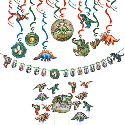 Easy Joy Dino Party Deko Dinosaurier Geburtstag Dekorationen Set Spiralen Birthday Banner Cake Toppers für Dinoparty