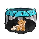 Recinto plegable para mascotas, tela Oxford, portátil, para perros, gatos, parque de juegos octogonal, impermeable, resistente a los arañazos, para interior y exterior