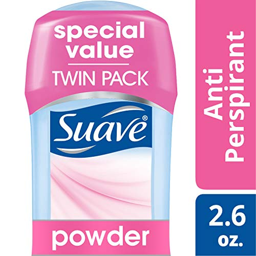 Suave Antiperspirant Deodorant Stick, Powder, 2.6 oz, Twin Pack