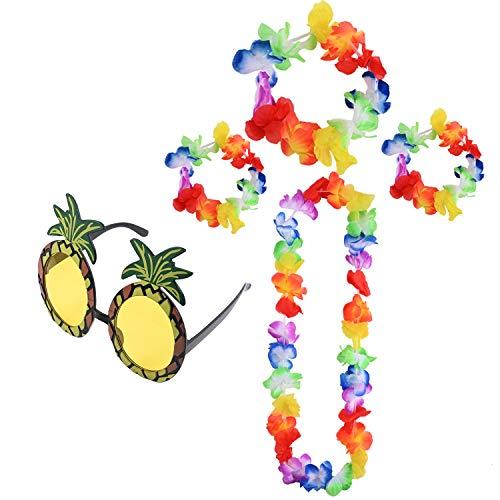 Berolle Juego de 5 piezas de disfraz hawaiano con guirnaldas hawaianas de piña gafas de sol estilo hawaiano, decoración tropical para fiestas y danza de playa