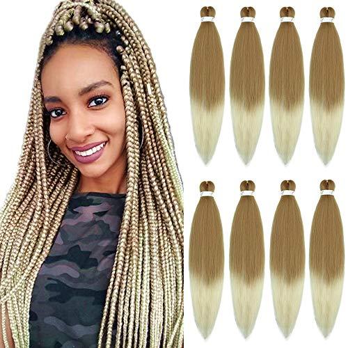 YMHPRIDE 8 pezzi di capelli pre-stirati Yaki professionale per capelli intrecciati Perm 26'a bassa temperatura in fibra sintetica capelli intrecciati gratis acqua calda (marrone chiaro/beige)