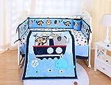SpringBaby Crib Bedding Set 7 Piece, 100% Soft Organic Natural Cotton, Portable Standard Crib Bedding Set for boy, Woodland Elephant Lion Deer & Monkey Crib Set (Blue Nautical Animals)