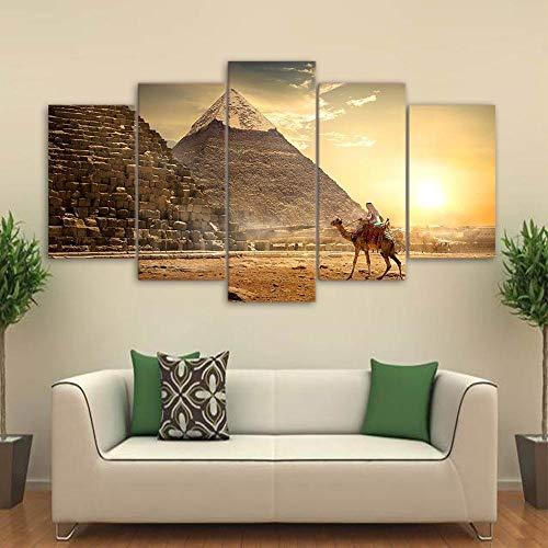 Olydmsky Cuadros dormitorios Modernos,Arte de la Pared decoración HD Lienzo Egipcio Antiguo Cinco pirámides Faraón sin Marco
