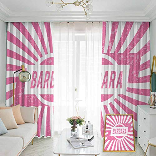 Barbara Pleated curtains with blackout and lining Radial Background with Name in Rectangle in the Middle Grunge Illustration Used for Living room bedroom with sliding door patio door W108 x L84 Inch
