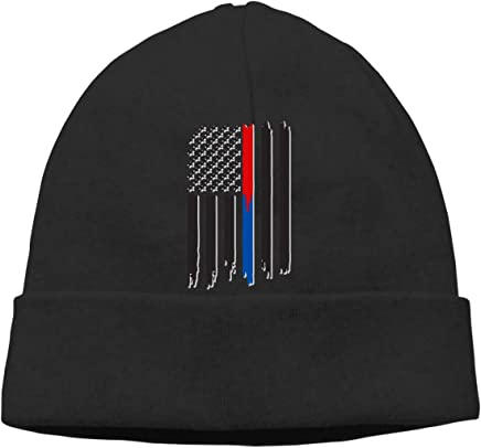 Thin Red   Blue Line American Flag Beanie Hat Cute Toboggan Hat Winter Hats  Knit Hat c51bda4c64f2