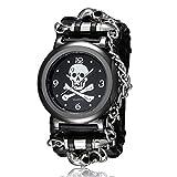 FENKOO, orologio unisex con motivo di teschio, orologio da polso (colore: nero).