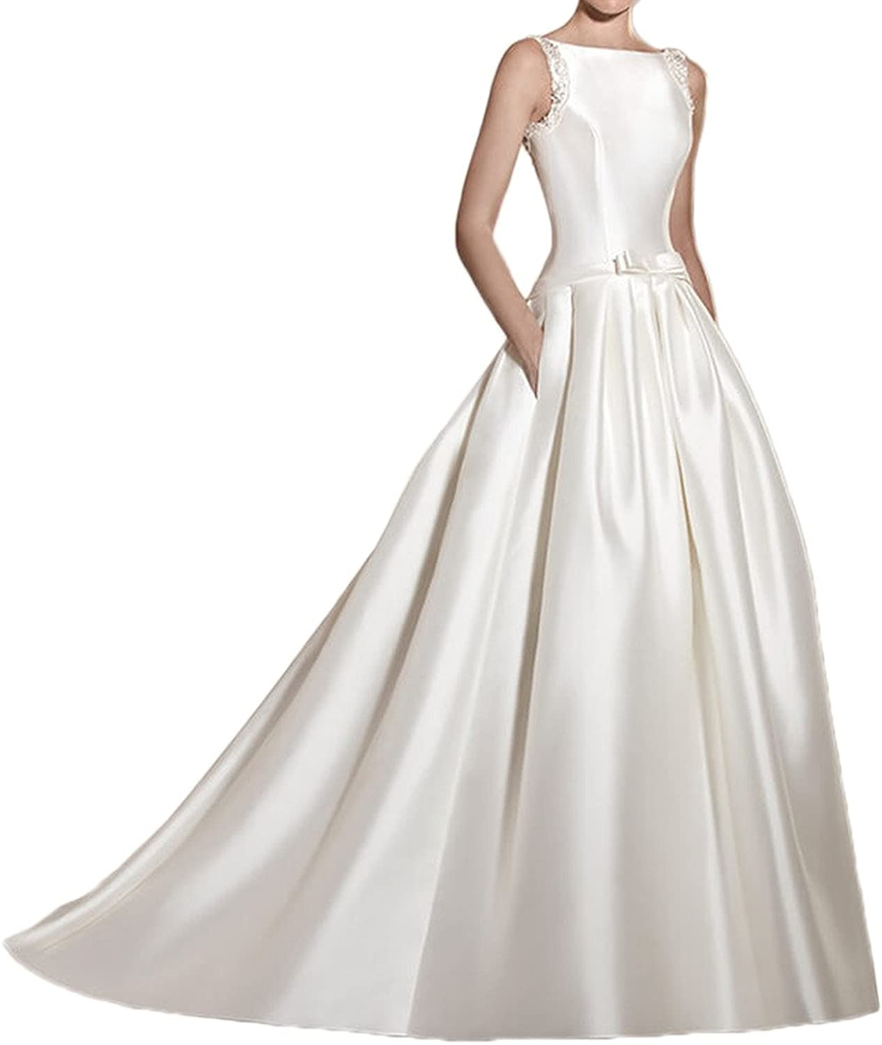 MILANO BRIDE Modern Wedding Dress For Bride Backless Ball Gown Satin Beads Pocket