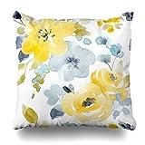 Dekorative Dekokissen Abdeckung botanische grau Blumen Aquarell hell Muster gelb Herbst blau...