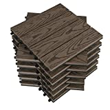 WOLTU WPC terrace tiles wood look terrace flooring tile in flooring with click system, for terrace and balcony 30x30 cm in a set brown (11 pieces / 1 m²)